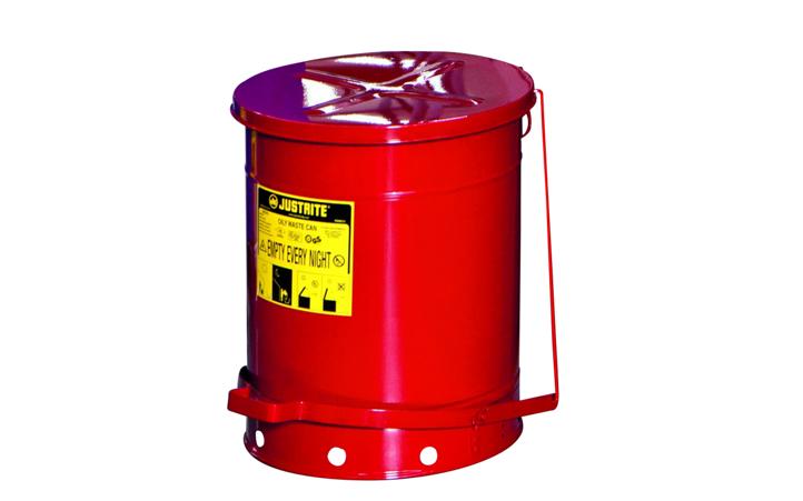 KAISER+KRAFT 皇加力 危险品垃圾桶,德国制造,10年质保! 通过 TUV / GS 认证 自动闭合桶盖 用于装浸有可燃的和水污染液体的清洗材料(溶剂、稀释剂、油、粘合剂) 底部通风设计防止过热和自燃 宽踏板方便打开桶盖 大把手方便桶的运输 钢板镀锌,外加喷粉;圆形桶,坚 固、平稳。 标准型 两种款式:一种手动式开盖,另一种 脚踏式开盖,表面红色喷粉。